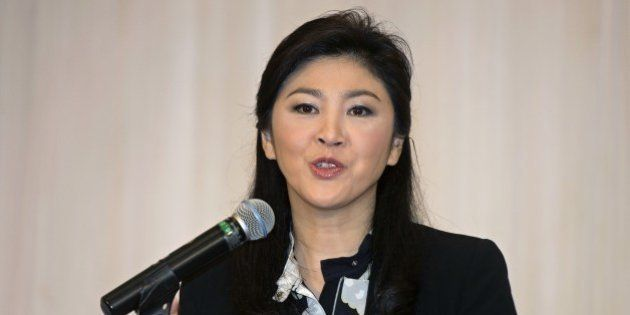 Thailand's deposed former prime minister Yingluck Shinawatra speaks during a press conference at hotel...