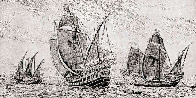 The Fleet Of Columbus, The Santa Maria, The Pinta And The Nina. Christopher Columbus C.1451 To 1506....