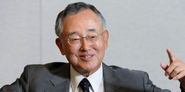 Yoshihiko Miyauchi, chairman and chief executive officer of Orix Corp., gestures as he speaks during...