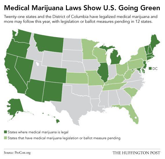 「医療大麻合法化の拡大」がわかるアメリカ地図