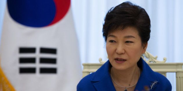 Park Geun Hye, South Korea's president, speaks during an interview at the presidential Blue House in...