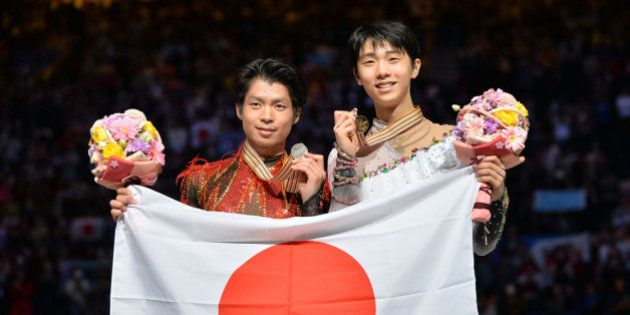 SAITAMA, JAPAN - MARCH 28: (L to R) Tatsuki Machida (Silver) of Japan and Yuzuru Hanyu (Gold) of Japan...