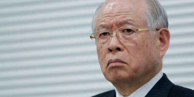 Ryoji Noyori, a Nobel Prize-winning chemist and president of Riken, pauses during a news conference in...