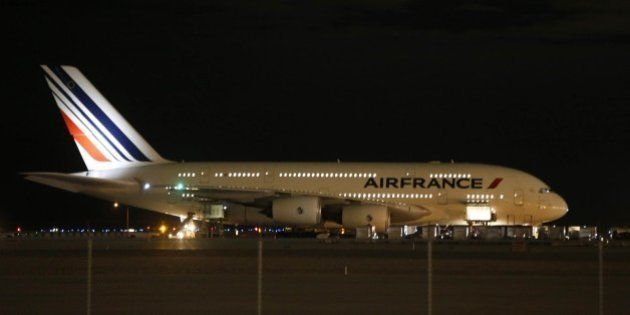 Air France Airbus 380, Flight 65, sits on the runway at the Salt Lake City International Airport being...