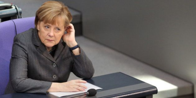 BERLIN, GERMANY - FEBRUARY 13: German Chancellor Angela Merkel attends a meeting of the Bundestag, or...