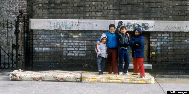 Group of young children in Urban Ghetto, Bronx, NY (Photo by Visions of America/UIG via Getty