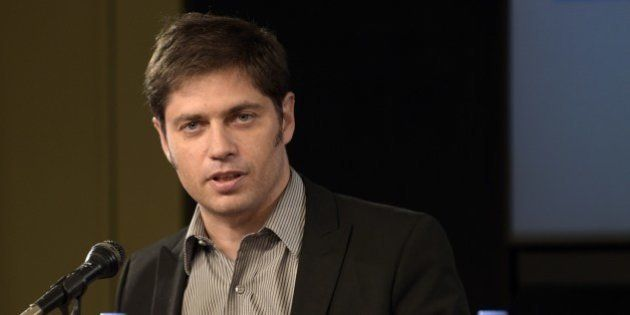Argentina's Economy Minister Axel Kicillof speaks during a press conference at the Ministry in Buenos...