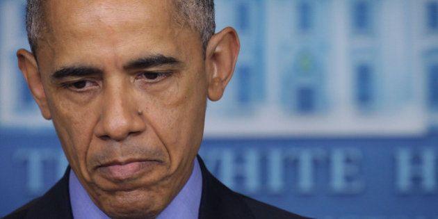 WASHINGTON, DC - JUNE 18: U.S. President Barack Obama pauses as he makes a statement regarding the shooting...