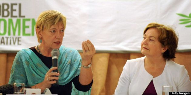 Nobel Peace Laureates Jody Williams (L) from the US addresses a press conference as Mairead Maguire (R)...