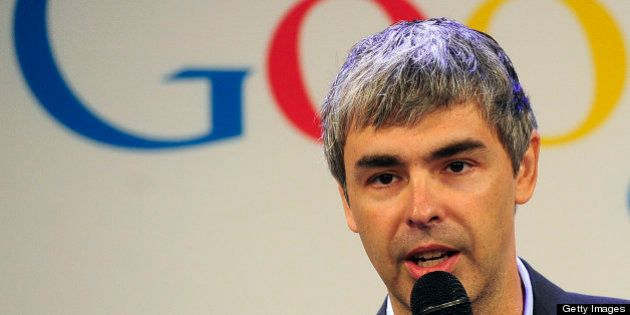 Google CEO Larry Page holds a press annoucement at Google headquarters in New York on May 21, 2012. Google...