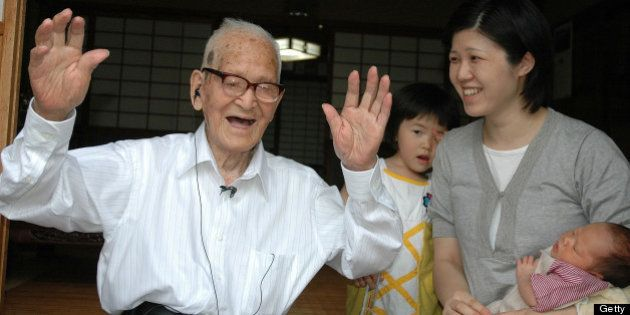 KYOTANGO, JAPAN - JUNE 20: (CHINA OUT, SOUTH KOREA OUT) Jiroemon Kimura celebrates being the oldest man...