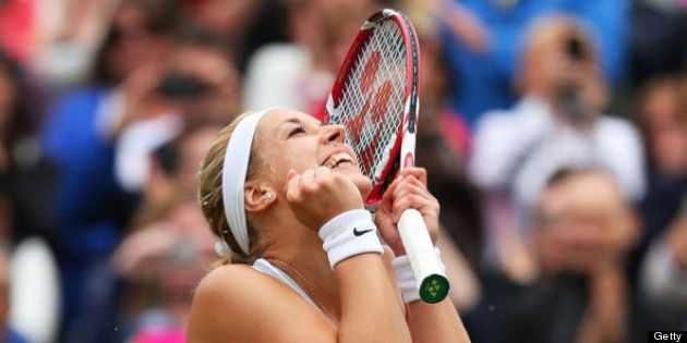 LONDON, ENGLAND - JULY 02: Sabine Lisicki of Germany celebrates match point during the Ladies' Singles...