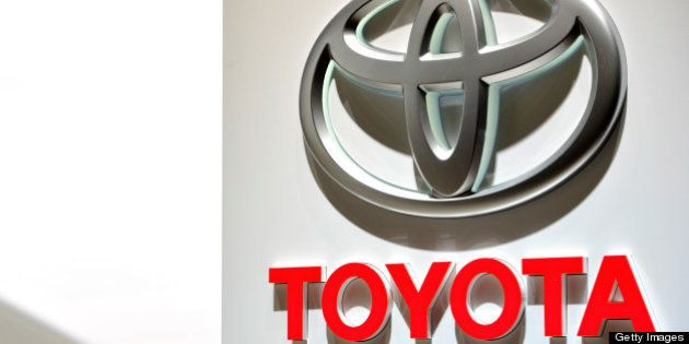 GENEVA, SWITZERLAND - MARCH 06: The Toyota logo is seen during the 83rd Geneva Motor Show on March 6,...