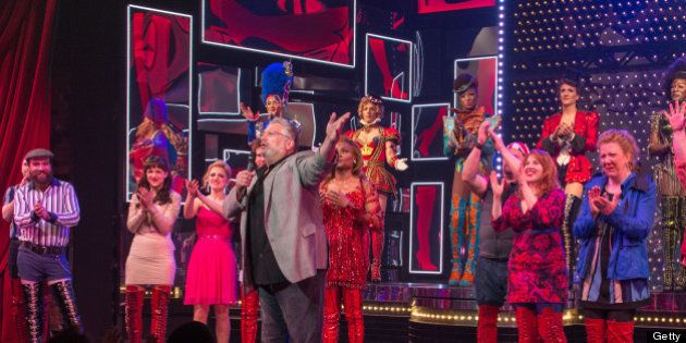 NEW YORK, NY - MAY 22: Harvey Fierstein and the cast of Kinky Boots announce The Harvey Fierstein 15-Bite...