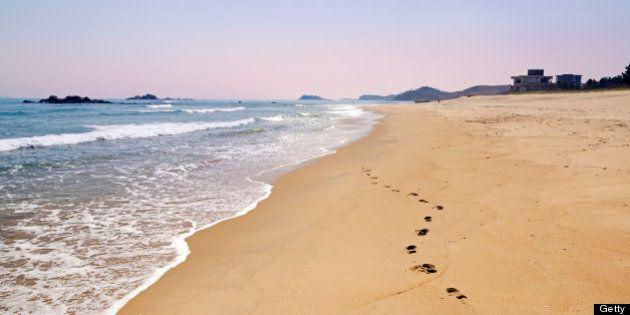 Beach resort area south of Wonsan, East Sea of Korea, Democratic People's Republic of Korea (DPRK), North...