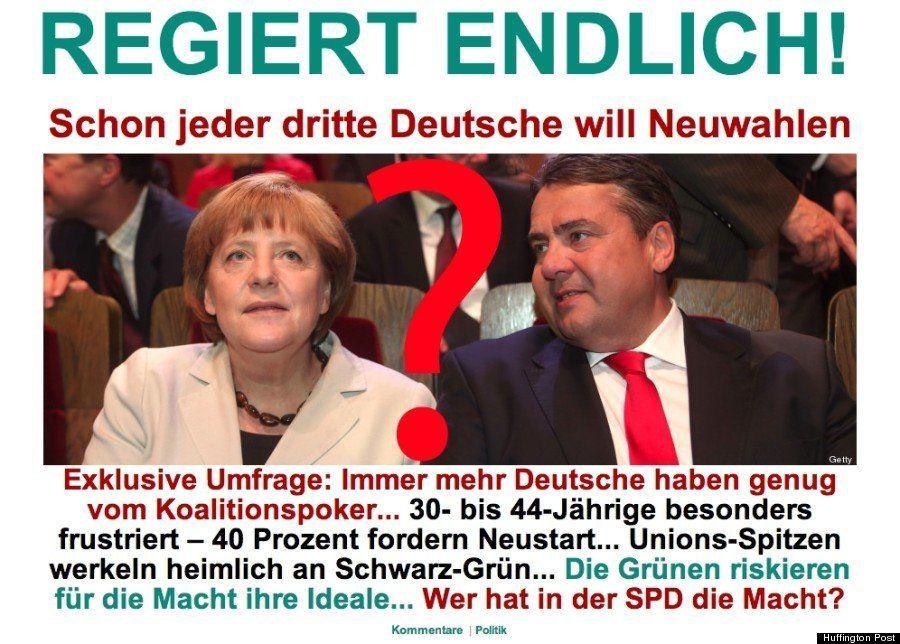 ドイツ国民の3割が再選挙を望む/ハフィントンポスト各国版