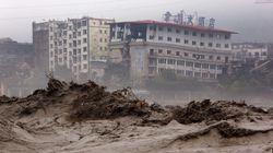 中国四川省で大雨