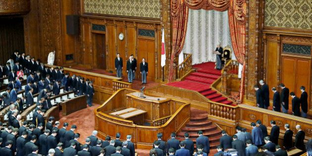 Japan's Emperor Akihito, makes a speech to members of the Parliament during the opening session at the...