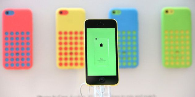 PALO ALTO, CA - SEPTEMBER 20: The new Apple iPhone 5C is displayed at an Apple Store on September 20,...