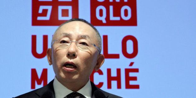 Tadashi Yanai, chairman, president and chief executive officer of Fast Retailing Co., speaks during a...