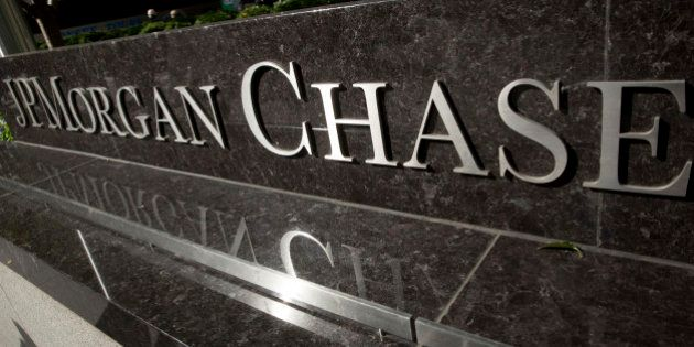 JPMorgan Chase & Co. signage is displayed outside the company's headquarters in New York, U.S., on Friday,...