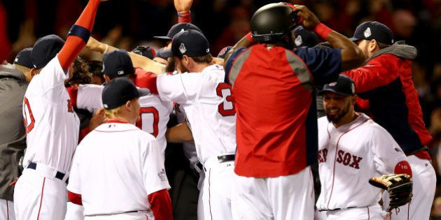 BOSTON, MA - OCTOBER 30: The Boston Red Sox celebrate after defeating the St. Louis Cardinals in Game...