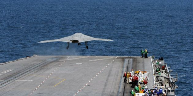 ATLANTIC OCEAN - MAY 14: In this handout released by the U.S. Navy, An X-47B Unmanned Combat Air System...