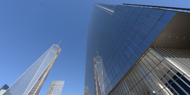 NEW YORK, USA - NOVEMBER 14: World Trade Center One is seen next to the newly-opened Four World Trade...