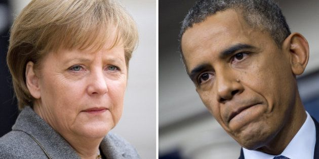 This combination of two pictures shows (at L) German Angela Merkel in Paris on February 6, 2012, and...
