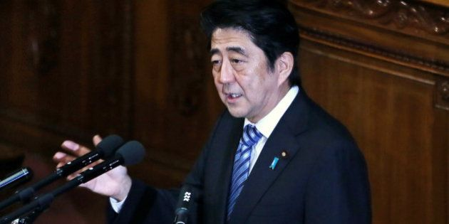 Shinzo Abe, Japan's prime minister, delivers his policy speech at the lower house of Parliament in Tokyo,...