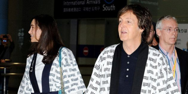IZUMISANO, JAPAN - NOVEMBER 09: Sir Paul McCartney and Nancy Shevell together arrive at Kansai International...