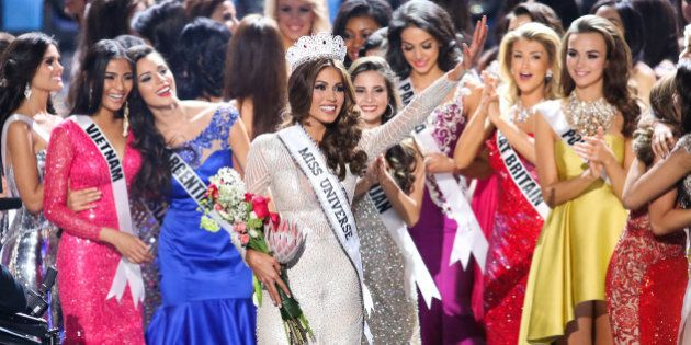MOSCOW, RUSSIA - NOVEMBER 09: Gabriela Isler on the stage during the Miss Universe Pageant Competition 2013  on November 9, 2013 in Moscow, Russia. (Photo by Victor Boyko/WireImage)
