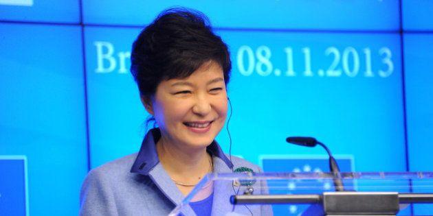BRUSSELS, BELGIUM - NOVEMBER 8: South Korea's President Park Geun-hye talks during a media conference...