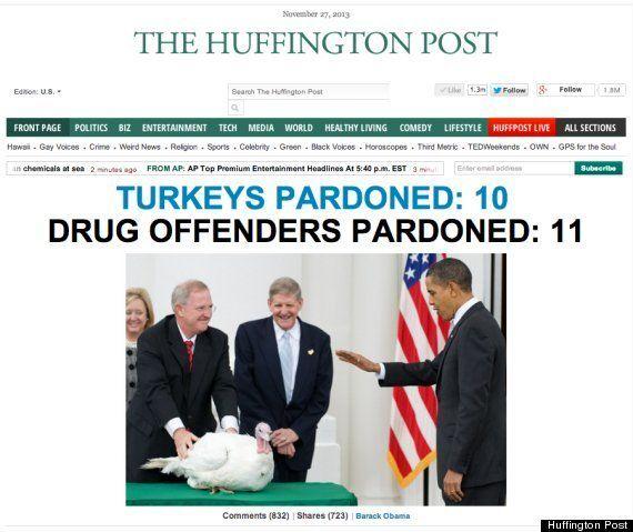 オバマ大統領、七面鳥に「恩赦」を与える /
