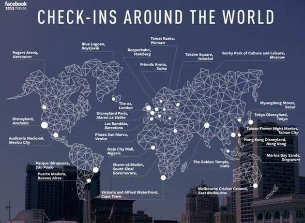 2013年Facebookで最も多くチェックインされた場所