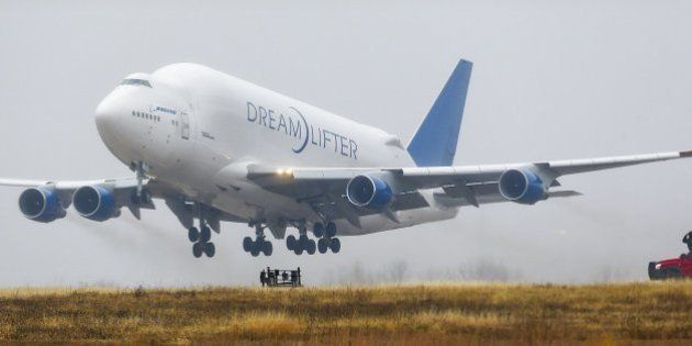 A Boeing 747 LCF Dreamlifter cargo plane takes off at Jabara airport in Wichita, Kan., on Thursday, Nov....