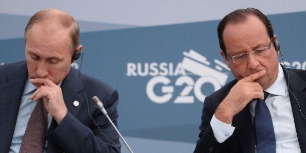 SAINT PETERSBURG - SEPTEMBER 06: President of the Russian Federation Vladimir Putin, (L) and President...