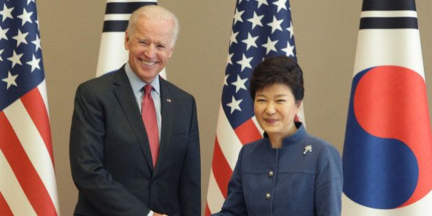 SEOUL, SOUTH KOREA - DECEMBER 06: U.S. Vice President Joe Biden (L) shakes hands with South Korean President...