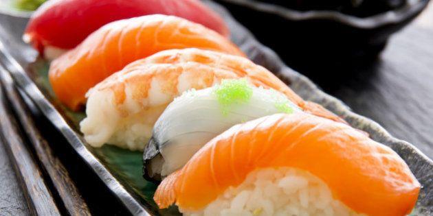 sushi on the