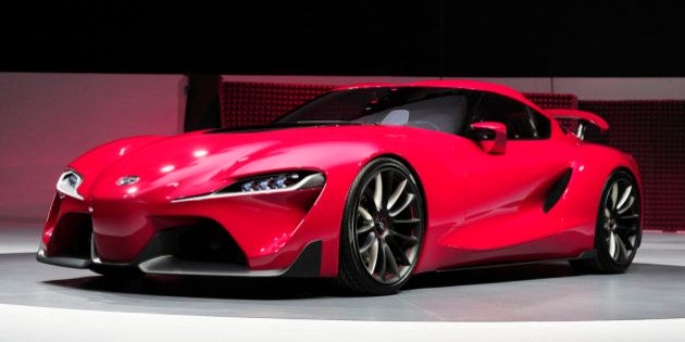 DETROIT, MI - JANUARY 13: The new Toyota FT-1 Concept is revealed at the press preview of the 2014 North...
