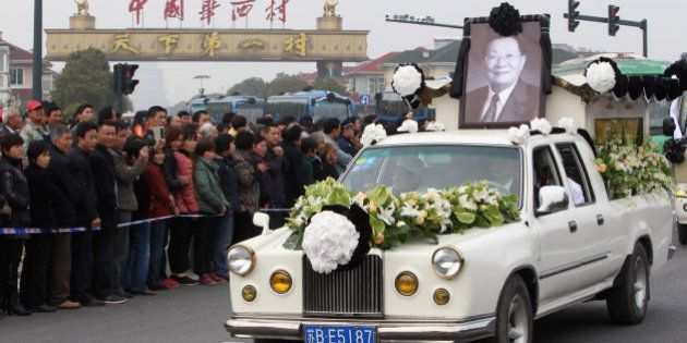 JIANGYIN, CHINA - MARCH 22: (CHINA OUT) A decorated hearse carrying the body of Wu Renbao, the former...