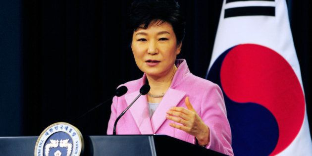 SEOUL, SOUTH KOREA - JANUARY 06: South Korean President Park Geun-Hye speaks during a press conference...