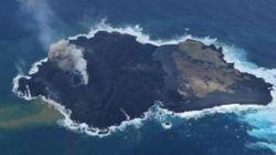 小笠原にできた新島、西之島とくっついてさらに拡大中