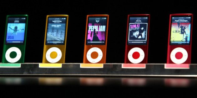 SAN FRANCISCO - SEPTEMBER 09: A display shows the range of colors for the new iPod Nano with video capabilities...