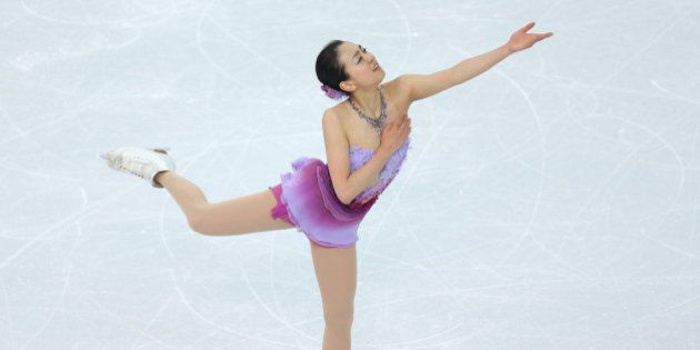 SOCHI, RUSSIA - FEBRUARY 08: Mao Asada of Japan competes in the Figure Skating Team Ladies Short Program...