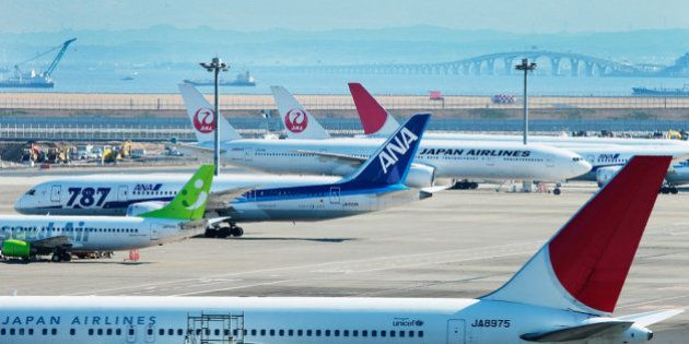 TOKYO, JAPAN - JANUARY 31: A general view of ANA and JAL Boeing 787 aeroplanes at Tokyo International...