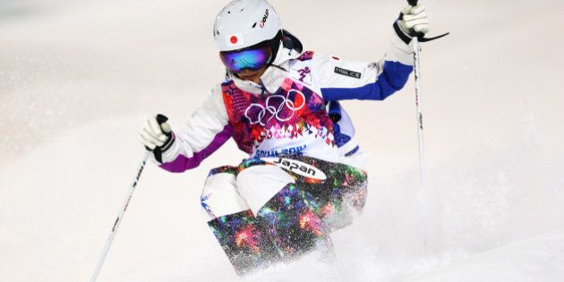 SOCHI, RUSSIA - FEBRUARY 08: Aiko Uemura of Japan competes in the Ladies' Moguls Final 2 on day 1 of...