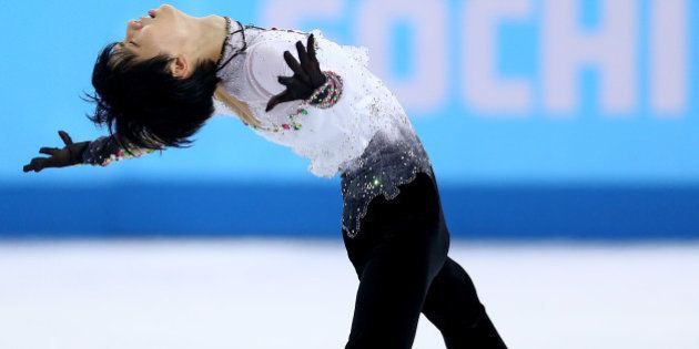 SOCHI, RUSSIA - FEBRUARY 14: Yuzuru Hanyu of Japan competes during the Figure Skating Men's Free Skating...