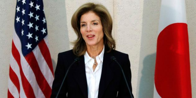 Caroline Kennedy, newly appointed U.S. ambassador to Japan, makes remarks upon her arrival at the Narita...