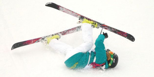 SOCHI, RUSSIA - FEBRUARY 11: Anna Segal of Australia falls while competing in the Freestyle Skiing Women's...